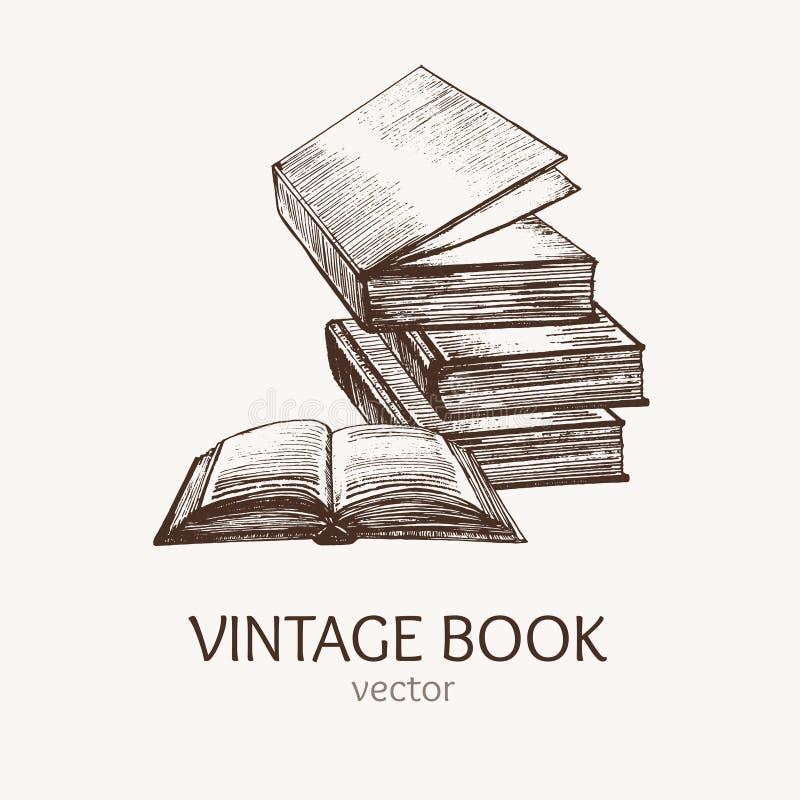Cartão do esboço da tração da mão da pilha de livro Vetor ilustração do vetor