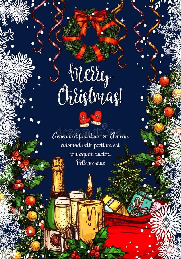 Cartão do esboço do vetor do Feliz Natal ilustração royalty free