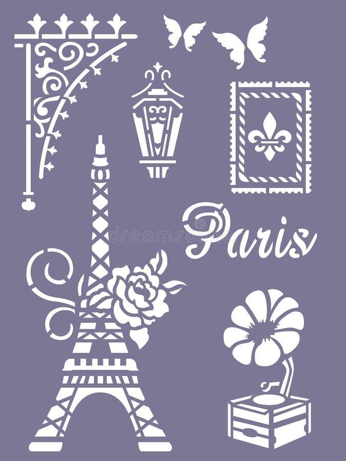 Cartão do estêncil de Paris ilustração do vetor