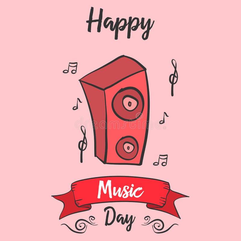 Cartão do estilo do dia da música do mundo ilustração stock
