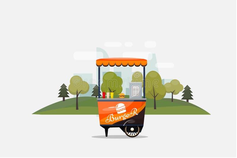 Cartão do fast food do hamburguer, quiosque nas rodas, retalho, vetor rápido do café da manhã, do almoço, ilustrada e o liso do e ilustração stock