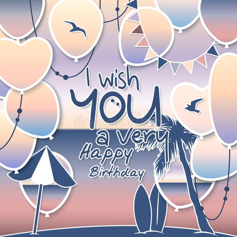 Cartão do feliz aniversario Balões do inclinação com mar e céu Bandeiras e cordas coloridas da estamenha Palma da árvore, sol ilustração stock