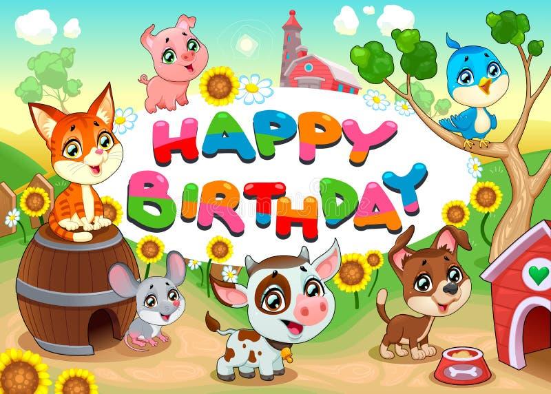 Cartão do feliz aniversario com animais de exploração agrícola ilustração royalty free