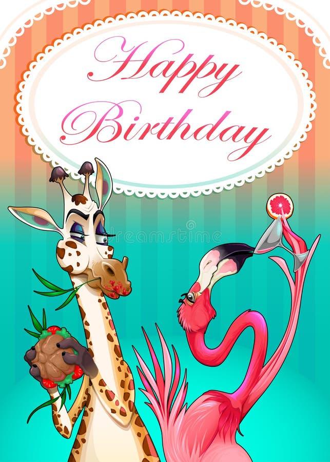 Cartão do feliz aniversario com animais engraçados ilustração royalty free