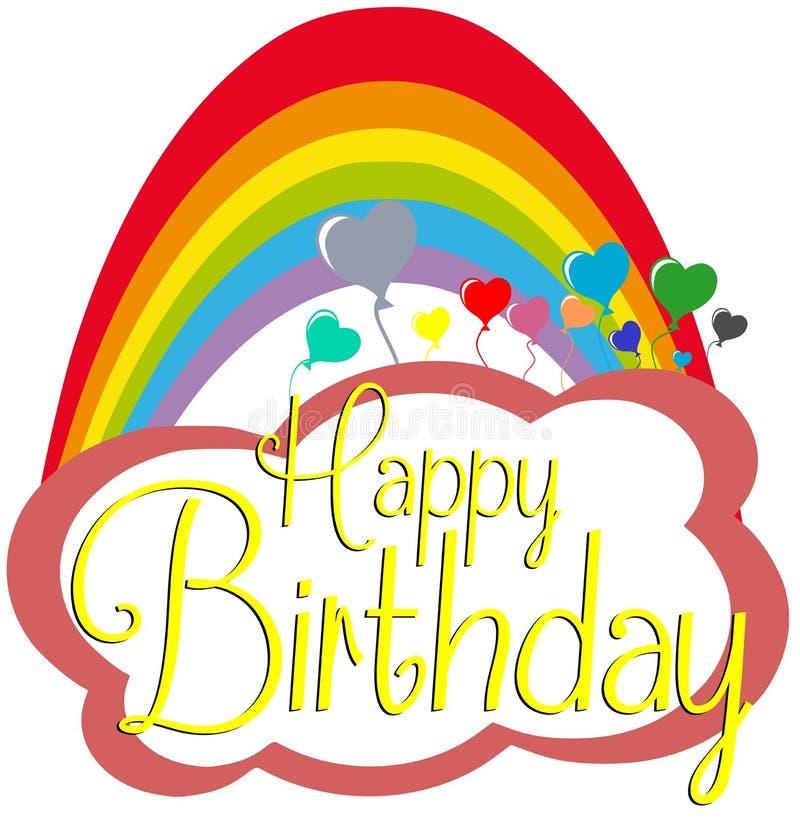 Cartão do feliz aniversario com arco-íris ilustração royalty free