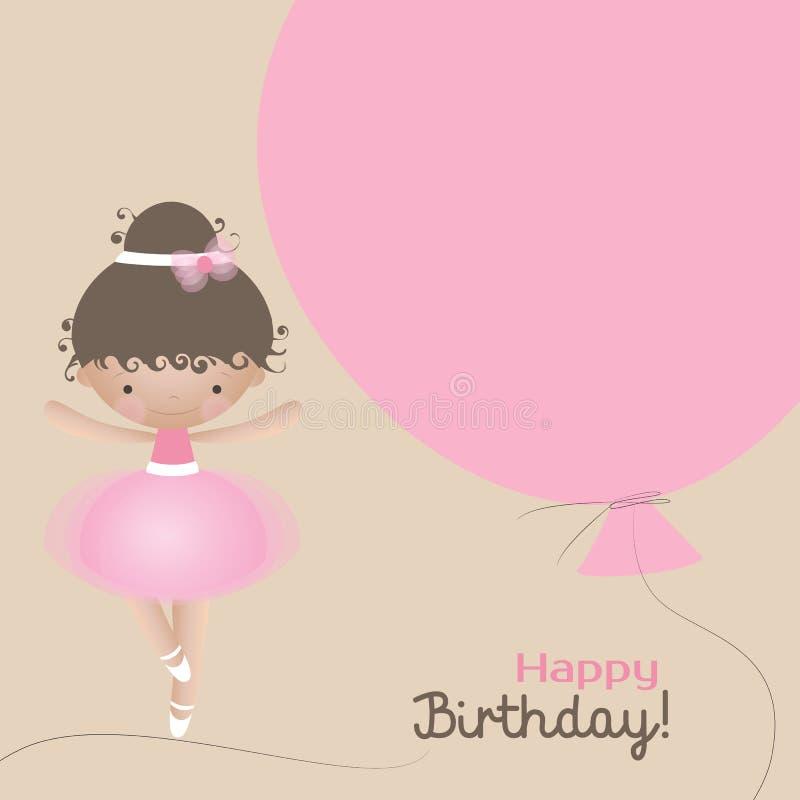 Cartão do feliz aniversario com a bailarina pequena bonito e o balão cor-de-rosa Ilustração do vetor ilustração do vetor