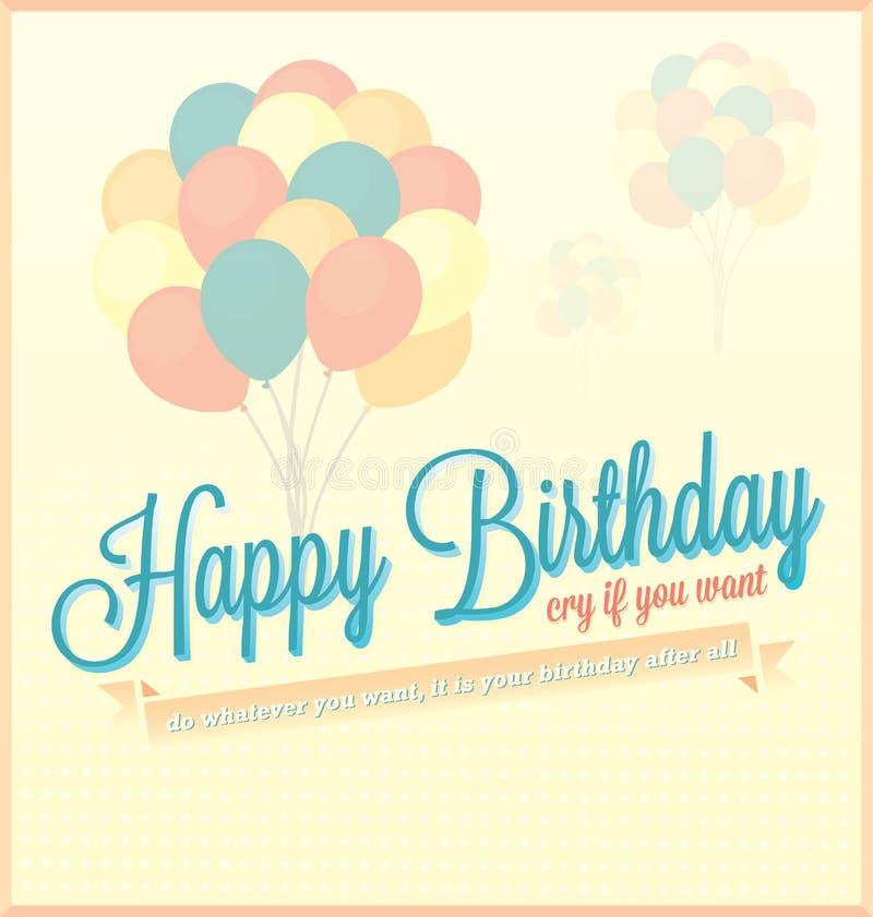 Cartão do feliz aniversario com balões ilustração royalty free