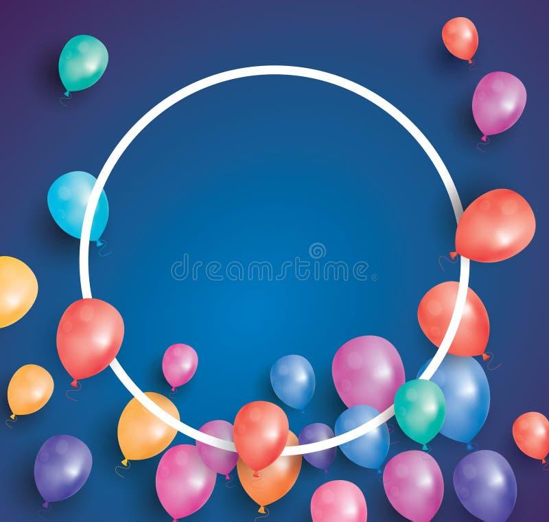 Cartão do feliz aniversario com balões do voo e quadro branco ilustração do vetor
