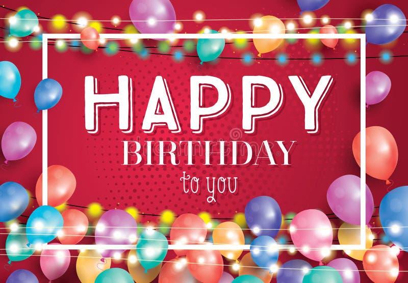 Cartão do feliz aniversario com balões do voo e quadro branco ilustração stock