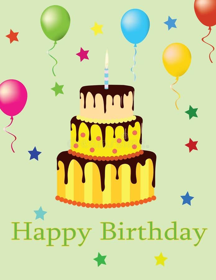 Cartão do feliz aniversario com bolo e balões ilustração do vetor
