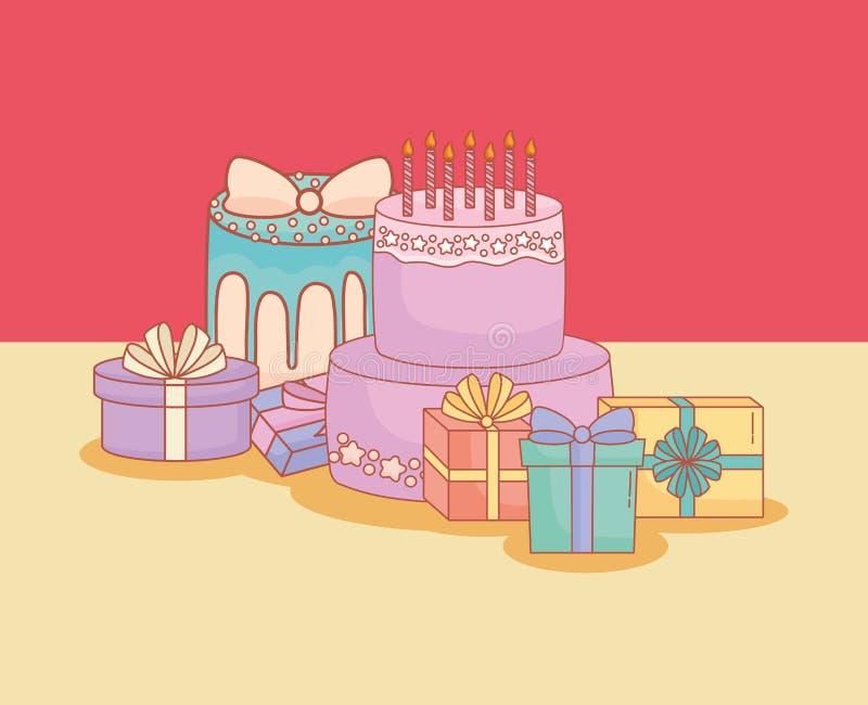 Cartão do feliz aniversario com bolo e presentes ilustração do vetor