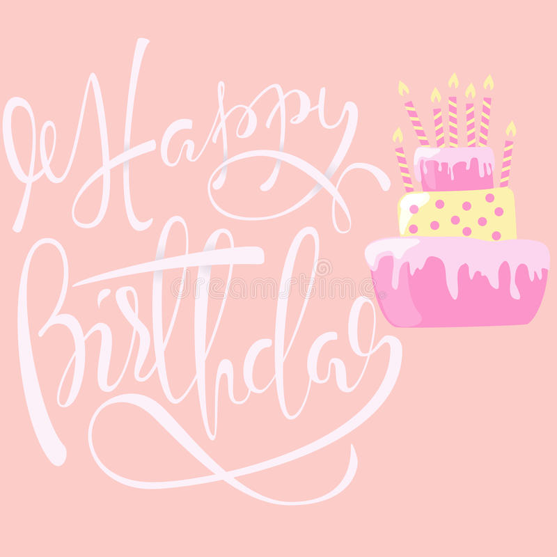 Cartão do feliz aniversario com bolo e velas Rotulação do vetor EPS10 ilustração do vetor