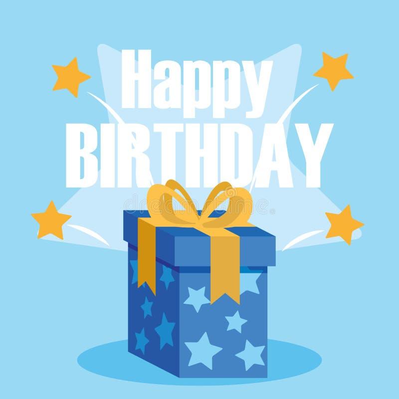 Cartão do feliz aniversario com caixa de presente ilustração stock
