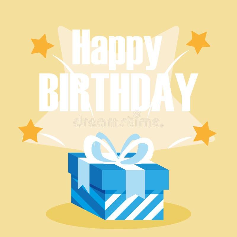 Cartão do feliz aniversario com caixa de presente ilustração royalty free
