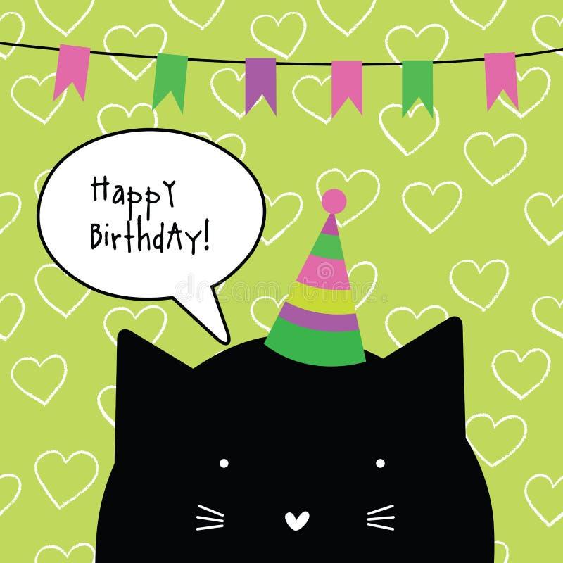 Cartão do feliz aniversario com caráter bonito do gato ano novo feliz 2007 desi ilustração royalty free