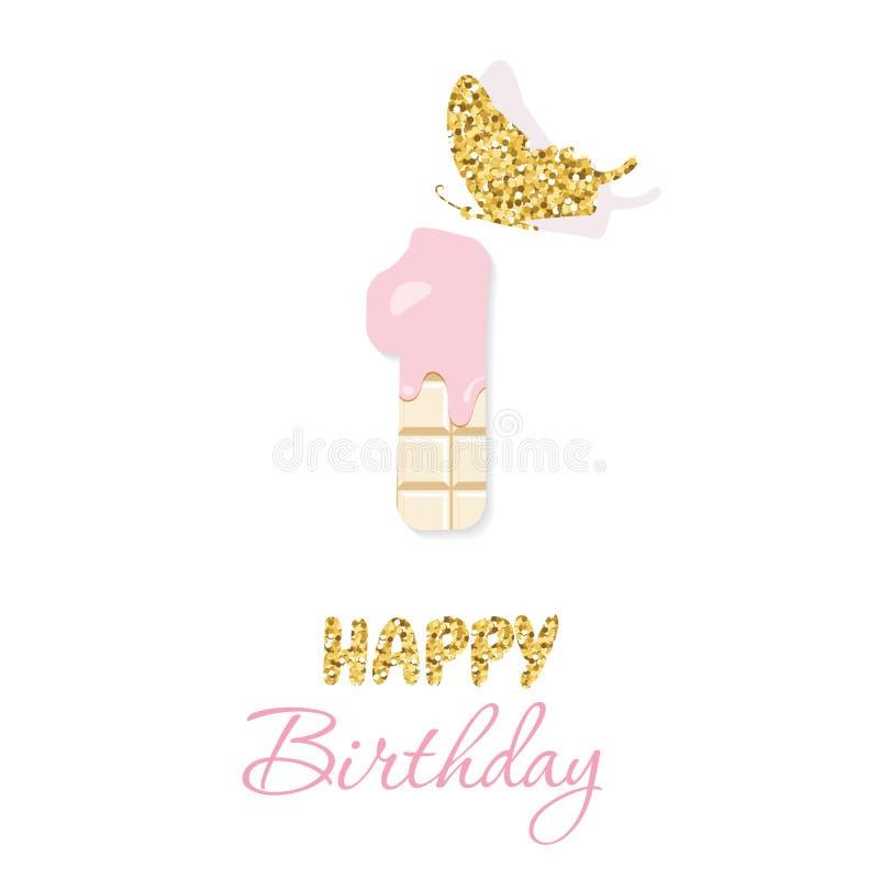 Cartão do feliz aniversario com chocolate número 1 e borboleta do brilho Um aniversário do bebê do ano De minimalistic na moda ilustração royalty free