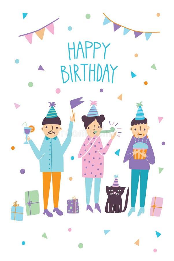 Cartão do feliz aniversario com convidados e o gato engraçados Cumprimentos dos amigos Ilustração do vetor, cartão dos desenhos a ilustração royalty free