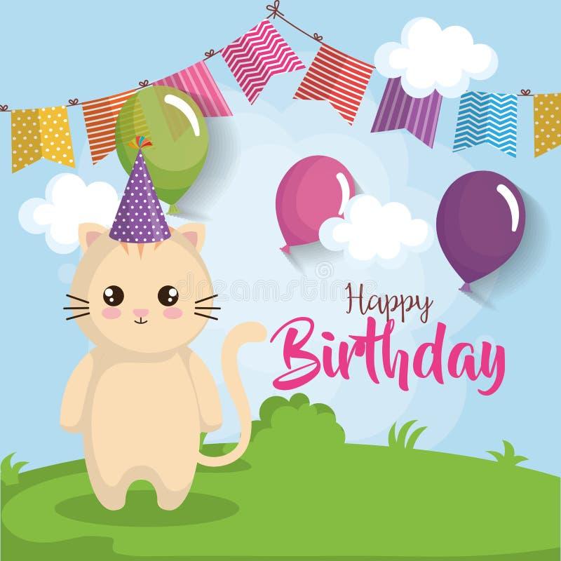 Cartão do feliz aniversario com gato ilustração royalty free