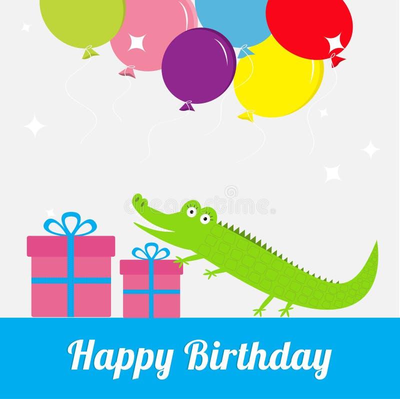 Cartão do feliz aniversario com jacaré bonito, giftbox, balões Fundo do bebê Projeto liso ilustração do vetor
