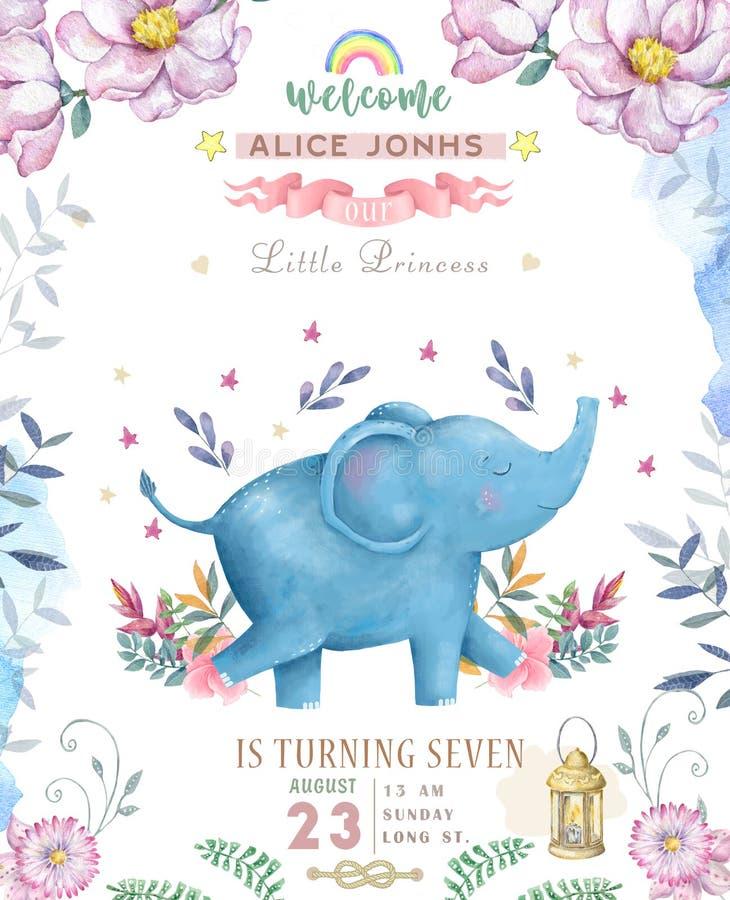 Cartão do feliz aniversario com o animal bonito da aquarela do elefante Cartão bonito do BEBÊ Feliz aniversario das flores de Boh ilustração do vetor