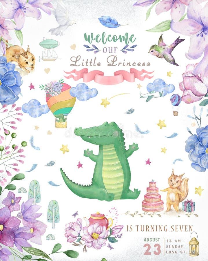 Cartão do feliz aniversario com o animal bonito de Croc Dandy Watercolor Cartão bonito do BEBÊ Flores de Boho e ramalhetes florai foto de stock