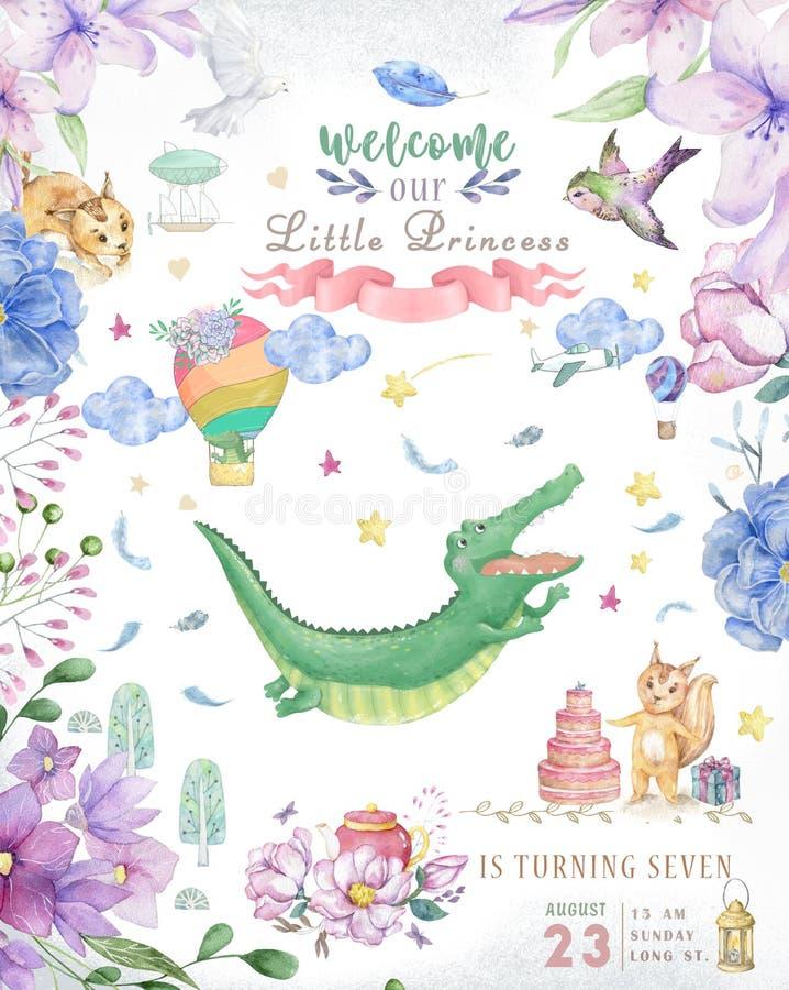Cartão do feliz aniversario com o animal bonito de Croc Dandy Watercolor Cartão bonito do BEBÊ Flores de Boho e ramalhetes florai fotos de stock