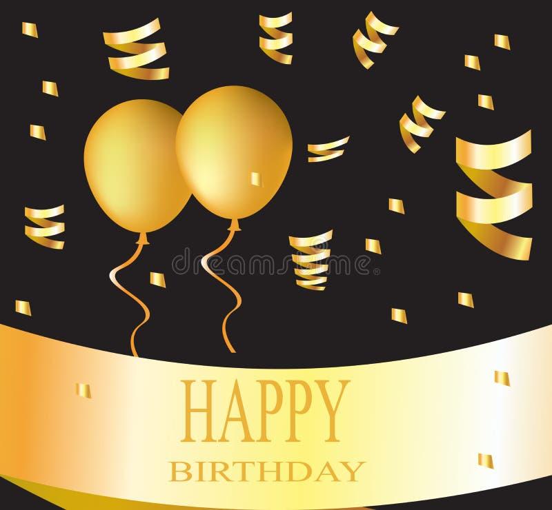 Cartão do feliz aniversario com os balões dourados no fundo preto ilustração do vetor