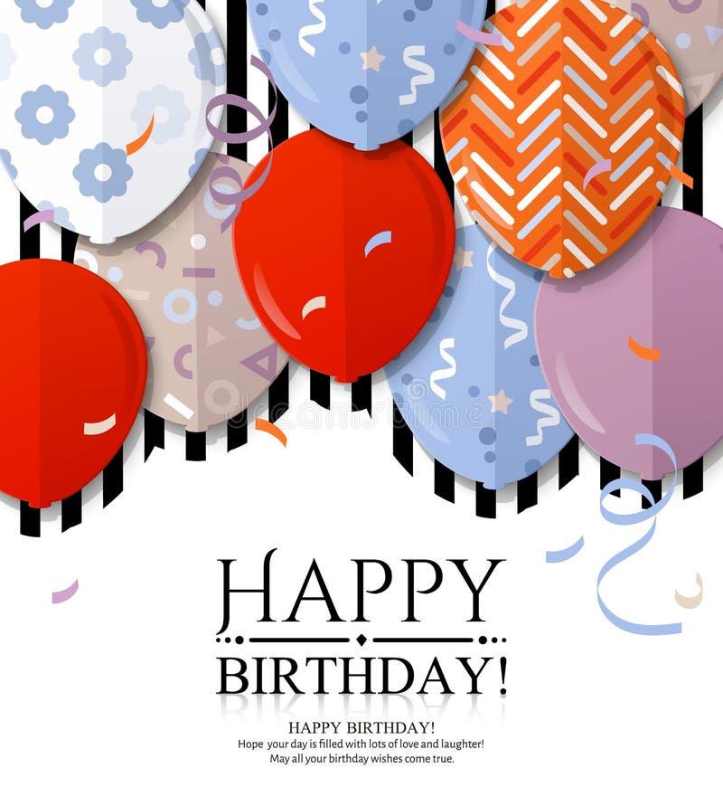 Cartão do feliz aniversario com os balões modelados no estilo liso Confetes e listras pretas no fundo Vetor ilustração do vetor