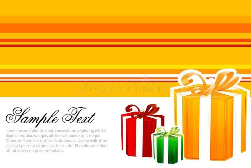 Cartão do feliz aniversario com presentes ilustração stock