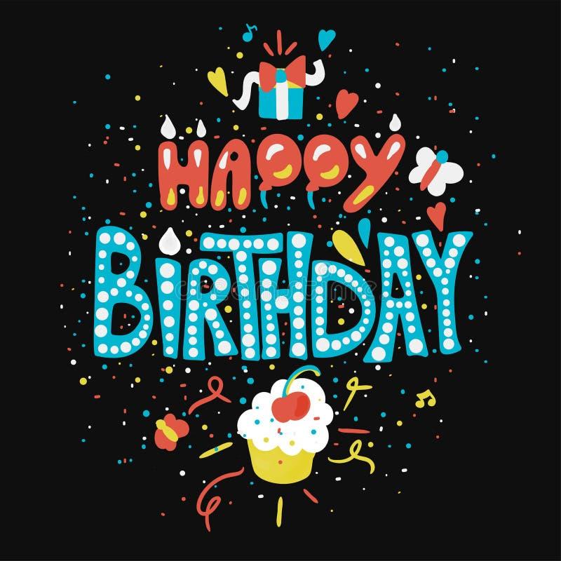 Cartão do feliz aniversario com queque ilustração royalty free