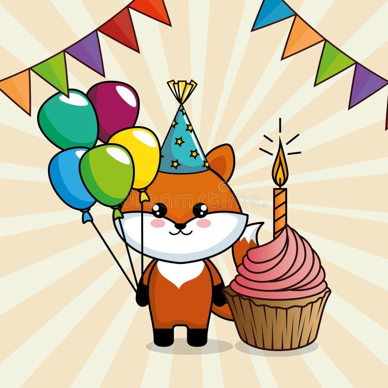 Cartão do feliz aniversario com raposa bonito ilustração royalty free