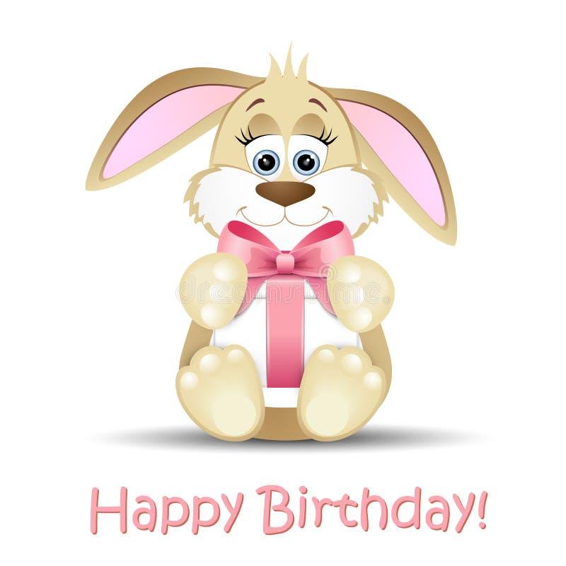 Cartão do feliz aniversario com um coelho ilustração stock