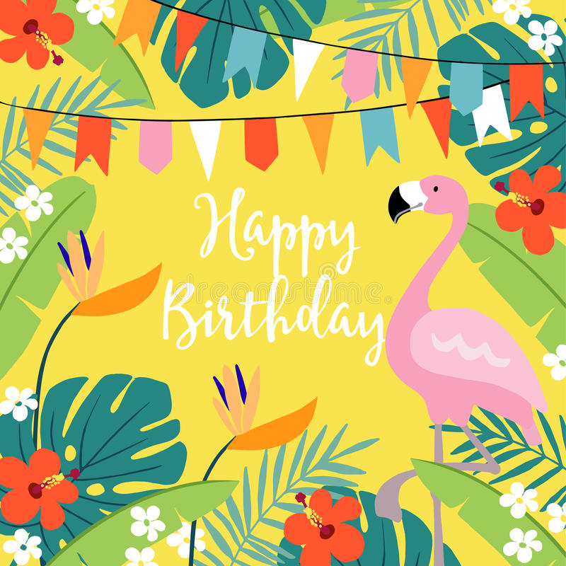 Cartão do feliz aniversario, convite com folhas de palmeira tiradas mão, flores do hibiscus, pássaro do flamingo e bandeiras do p ilustração do vetor