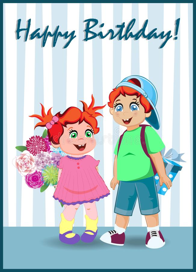 Cartão do feliz aniversario de crianças bonitos dos desenhos animados ilustração royalty free