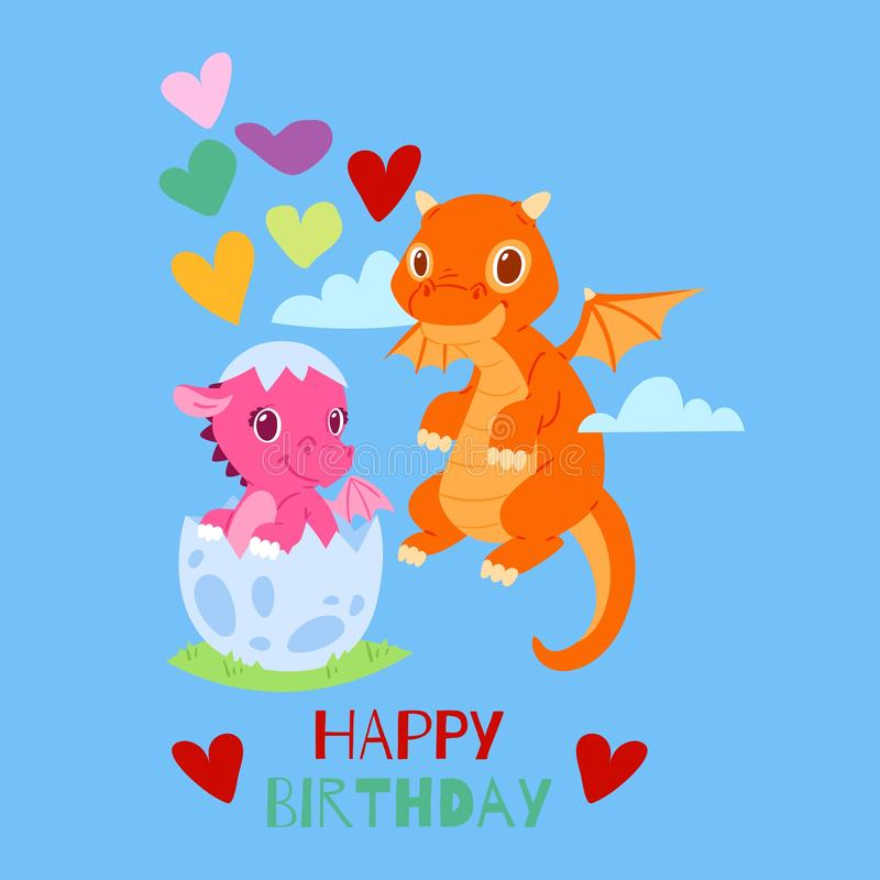 Cartão do feliz aniversario dos dragões, ilustração do vetor da bandeira Drag?es pequenos engra?ados dos desenhos animados com as ilustração do vetor