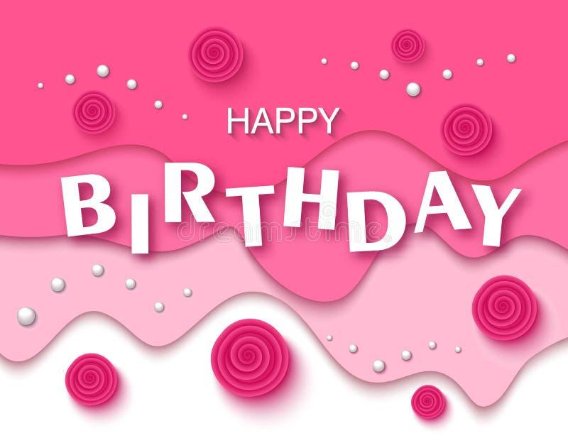 Cartão do feliz aniversario e molde do convite do partido com flores e as pérolas bonitas Ilustração do vetor ilustração royalty free