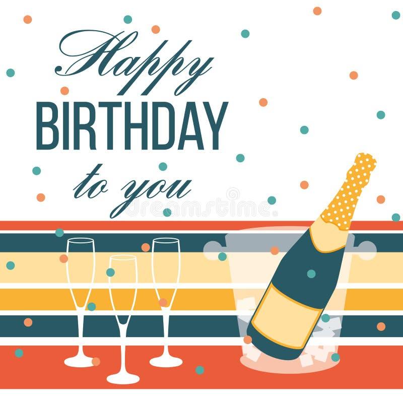 Cartão do feliz aniversario Garrafa e vidros de Champagne ilustração stock