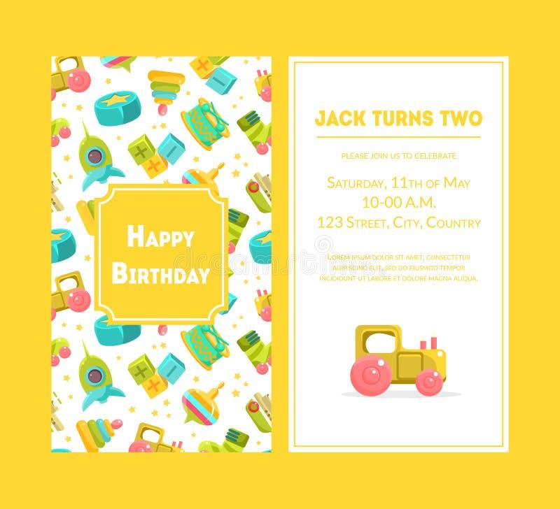 Cartão do feliz aniversario, molde amarelo do convite do partido para a ilustração do vetor da celebração do aniversário do bebê ilustração do vetor