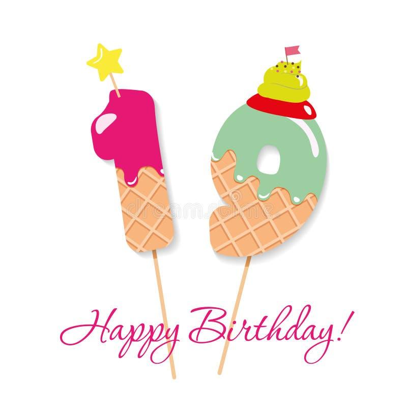 Cartão do feliz aniversario Números festivos 19 do doce Palhas de Coctail Caráteres decorativos engraçados Vetor ilustração stock
