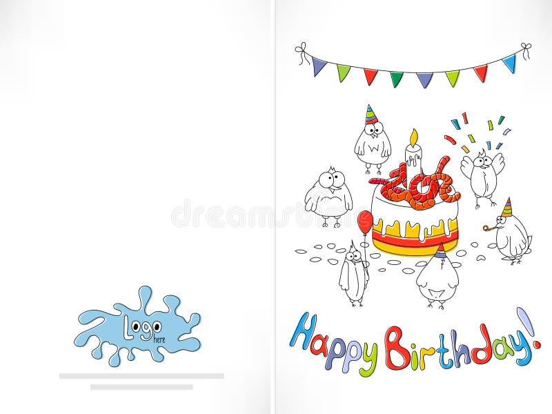 Cartão do feliz aniversario Pássaro engraçado dos desenhos animados em uma corda ilustração royalty free