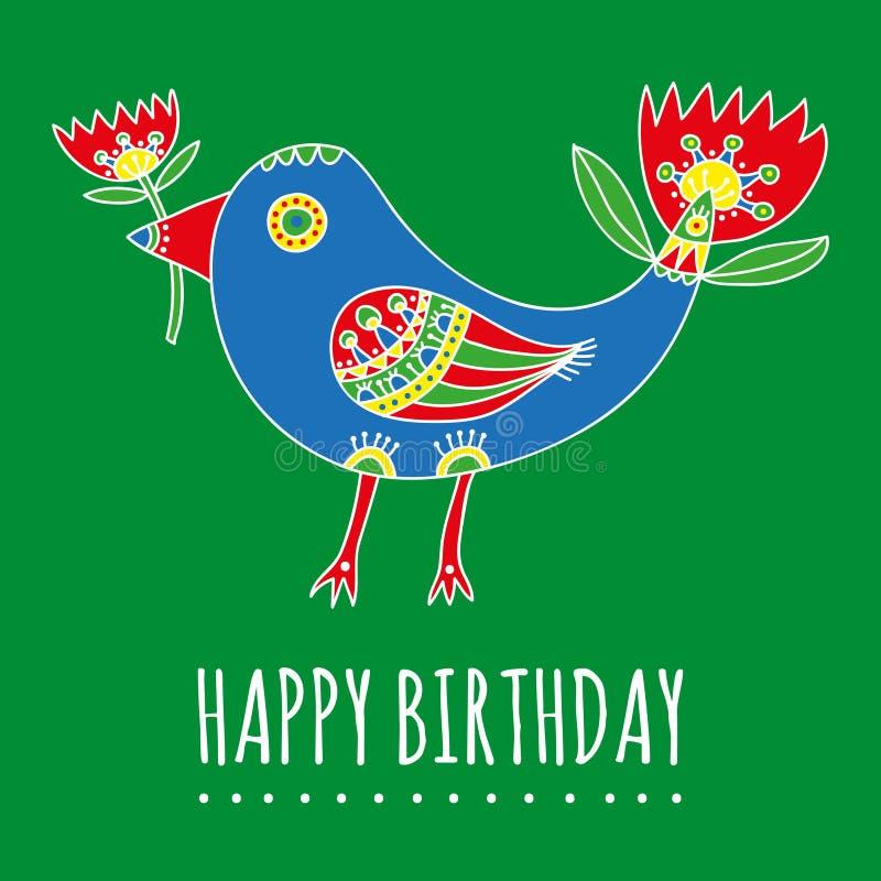 Cartão do feliz aniversario Pássaro fantástico brilhante com tulipas ilustração royalty free