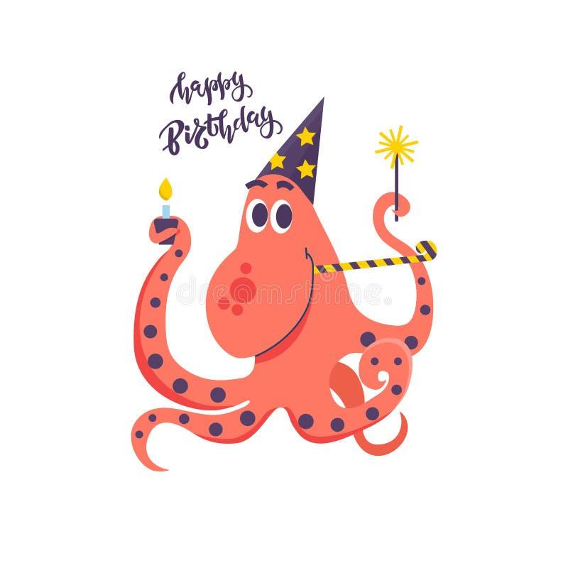 Cartão do feliz aniversario para crianças e o polvo bonito com chuveirinhos, tampão do feriado, bolo e chifre do partido Ilustraç ilustração stock