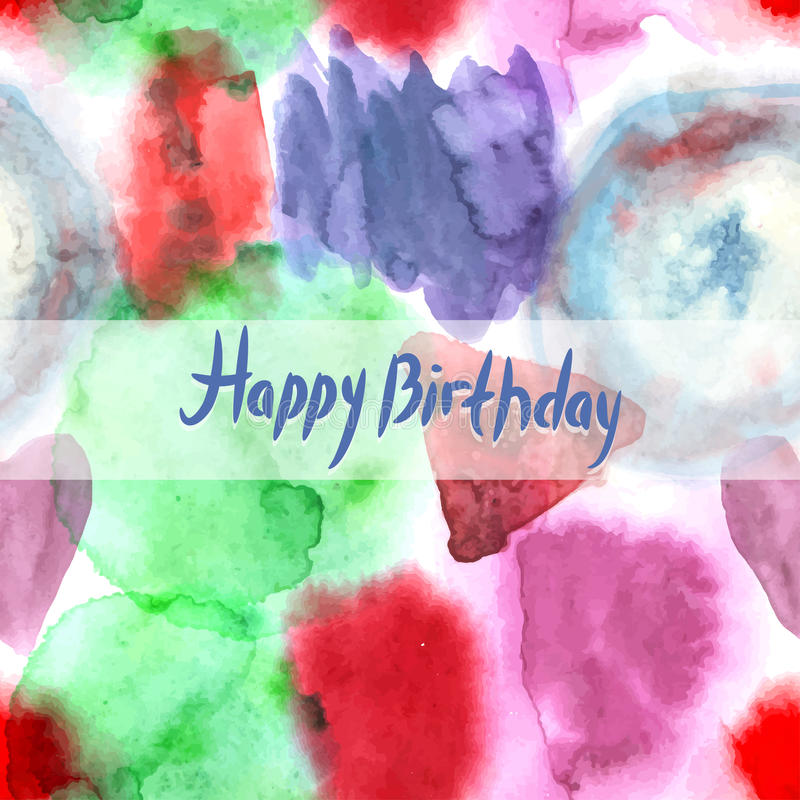 Cartão do feliz aniversario Teste padrão abstrato da pintura da mão da arte da aquarela ilustração royalty free