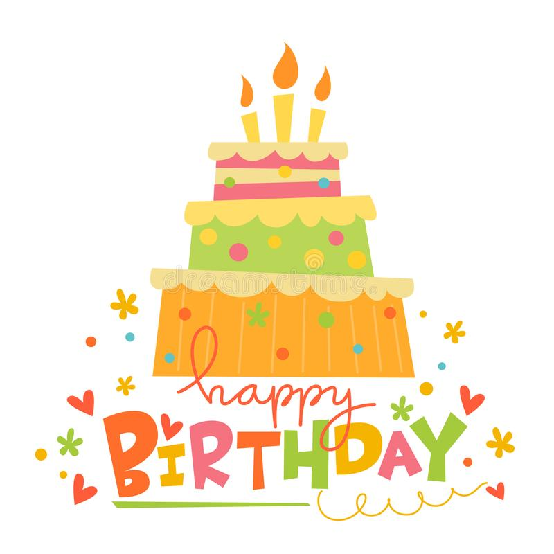 Cartão do feliz aniversario do vetor com bolo bonito ilustração royalty free