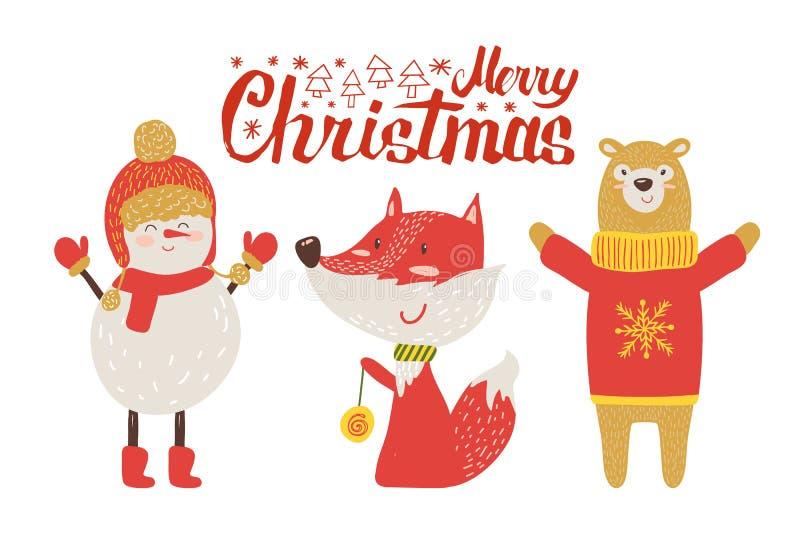 Cartão do Feliz Natal, animais retros dos desenhos animados ilustração stock