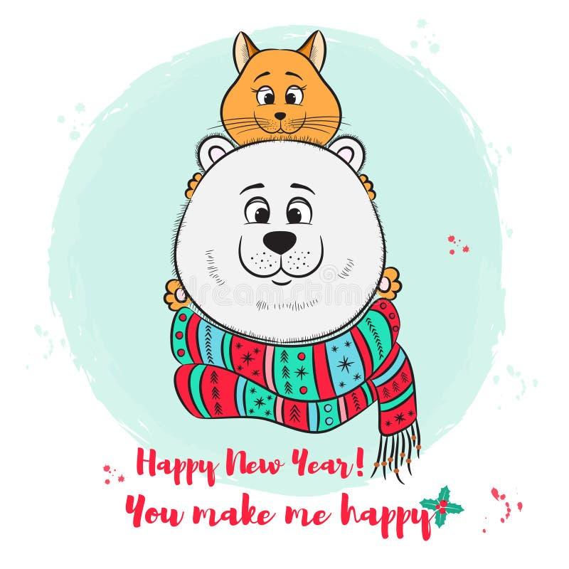 Cartão do Feliz Natal, do ano novo com o urso polar bonito e gato ilustração do vetor