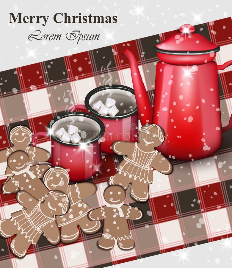 Cartão do Feliz Natal As cookies do pão-de-espécie e as bebidas quentes sobre o guingão modelam o vetor do vintage realístico ilustração stock