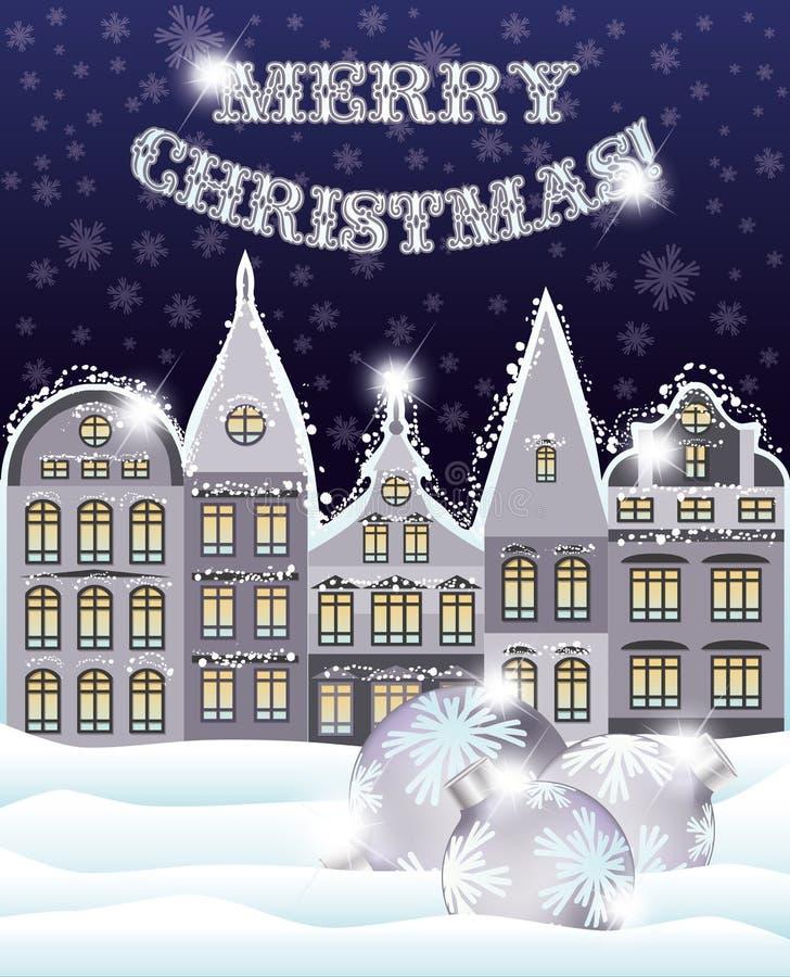 Cartão do Feliz Natal com cidade do inverno e bolas do xmas ilustração royalty free