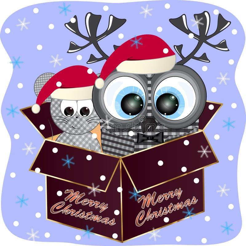 Cart?o do Feliz Natal com coruja e rato ilustração royalty free