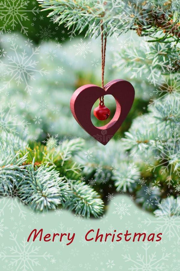 Cartão do Feliz Natal com flocos de neve imagem de stock royalty free